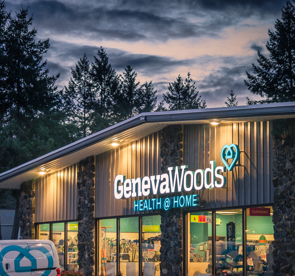 Photo of illuminated sign install performed for Geneva Woods
